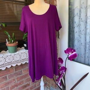 Roaman's Woman's Purple Short Sleeve Tunic/Top SzL
